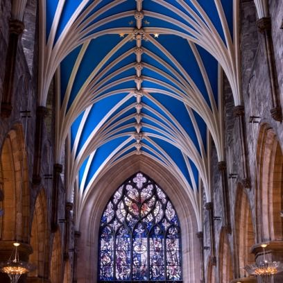 Architecture, Glass, Vault, Stained glass, Interior design, Ceiling, Place of worship, Holy places, Chapel, Fixture,