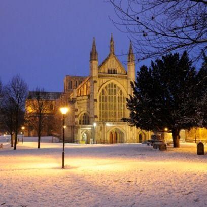 Winter, Freezing, Landmark, Snow, Evening, Street light, Place of worship, Medieval architecture, Spire, Church,