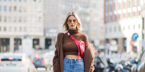 Clothing, Street fashion, Waist, Fashion, Jeans, Brown, Shoulder, Snapshot, Denim, Turquoise,