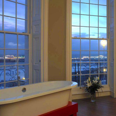 Blue, Glass, Interior design, Flowerpot, Daylighting, Real estate, Fixture, Azure, Interior design, Majorelle blue,