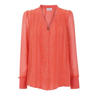 Product, Collar, Sleeve, Textile, Red, Outerwear, Orange, Pink, Pattern, Magenta,