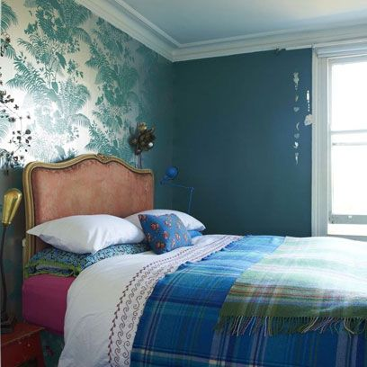 Blue, Green, Room, Interior design, Bed, Property, Bedding, Textile, Wall, Floor,