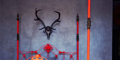 Iron, Furniture, Bed frame, Bed, Metal, Room, Architecture, Canopy bed, Antler,