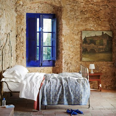 Room, Wall, Blue, Furniture, Bedroom, Bed, Property, Interior design, House, Bed frame,
