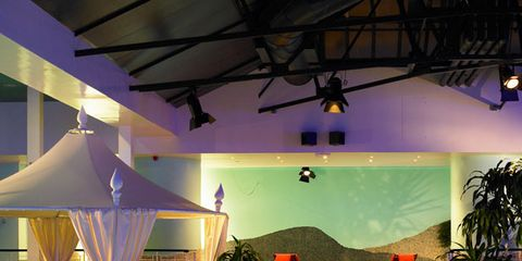 Swimming pool, Lighting, Property, Resort, Real estate, Ceiling, Shade, Outdoor furniture, Resort town, Composite material,