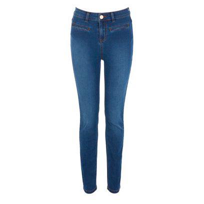 Clothing, Blue, Denim, Trousers, Jeans, Textile, Pocket, White, Standing, Electric blue,