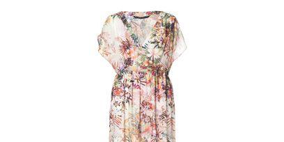 Dress, Textile, Pattern, One-piece garment, Day dress, Teal, Peach, Visual arts, Design, Fashion design,
