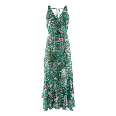 Green, Sleeve, Textile, Dress, One-piece garment, Formal wear, Pattern, Day dress, Costume design, Teal,