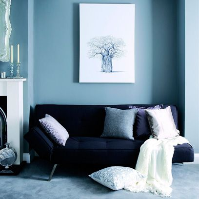 Blue Couch Living Room Ideas Sofa With Wall Brick Decor And Dark W