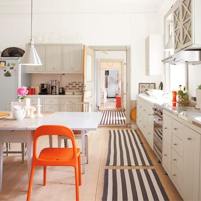 Furniture, White, Room, Countertop, Kitchen, Property, Interior design, Cabinetry, Floor, Orange,