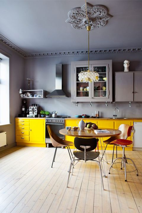 Room, Furniture, Yellow, Interior design, Kitchen, Floor, Property, Ceiling, Building, Cabinetry,