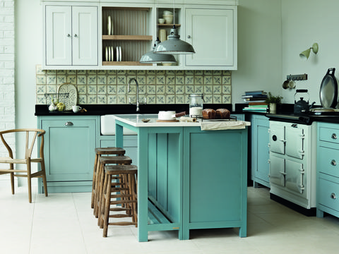 Countertop, Kitchen, Furniture, Cabinetry, Room, Green, Turquoise, Kitchen stove, Interior design, Material property,