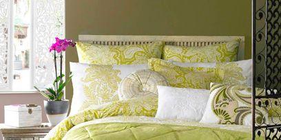 Room, Green, Yellow, Interior design, Wall, Home, Textile, Bedding, Floor, Linens,