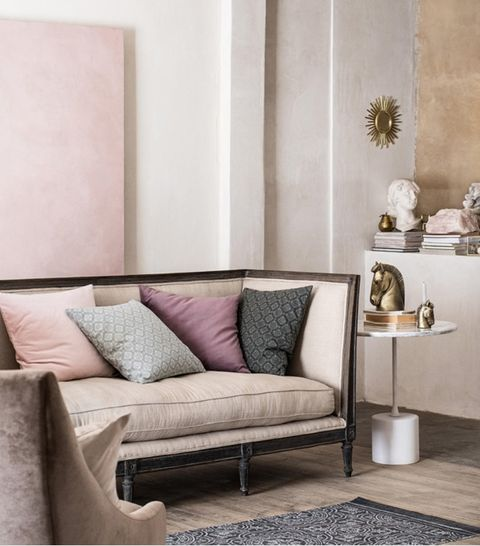 Furniture, Room, Living room, Interior design, Pink, Wall, Property, Purple, Couch, Floor,
