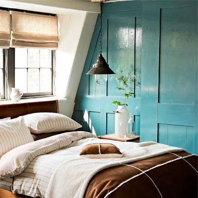 Room, Interior design, Wood, Textile, Bed, Wall, Linens, Teal, Bedding, Bedroom,