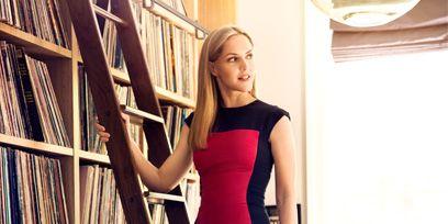 Dress, Shelf, Shelving, Waist, Bookcase, One-piece garment, Cocktail dress, Day dress, Blond, Publication,