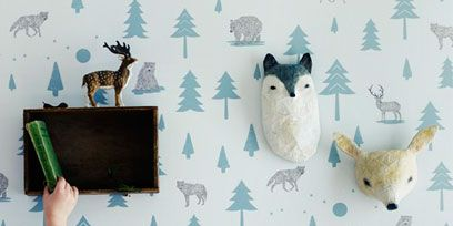Organism, Vertebrate, Pattern, Deer, Art, Turquoise, Teal, Aqua, Interior design, Design,