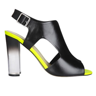 Footwear, Product, Yellow, High heels, Fashion, Basic pump, Black, Leather, Material property, Sandal,