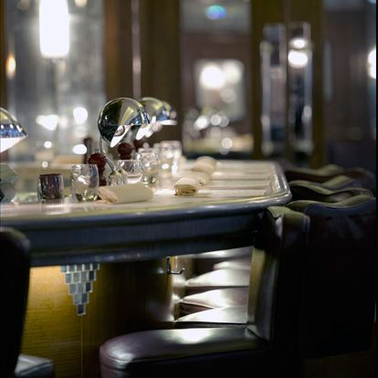 Restaurant, Room, Table, Furniture, Lighting, Dining room, Interior design, Bar, Kitchen & dining room table, Glass,