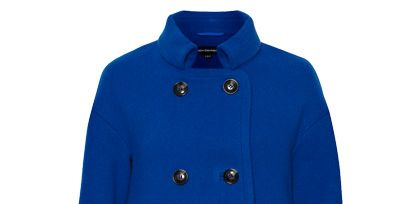 Blue, Product, Sleeve, Collar, Coat, Textile, Outerwear, White, Standing, Electric blue,