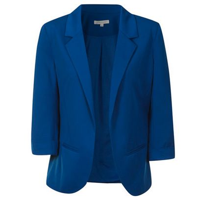 Clothing, Blue, Coat, Collar, Sleeve, Textile, Outerwear, Electric blue, Blazer, Fashion,