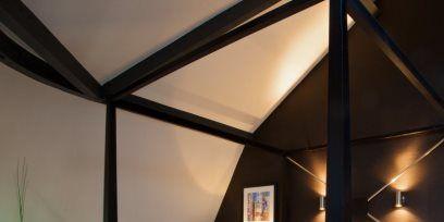 Bed, Lighting, Room, Interior design, Property, Bedding, Textile, Bedroom, Furniture, Floor,