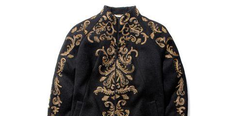 Clothing, Sleeve, Textile, Outerwear, Fashion, Blazer, Pattern, Beige, Costume design, Costume,