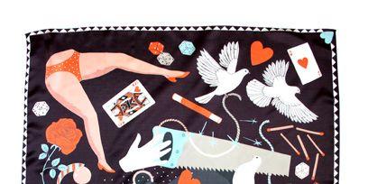 Vertebrate, Orange, Pattern, Art, Visual arts, Creative arts, Painting, Illustration, Rectangle, Peach,