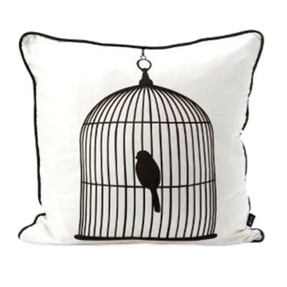 Textile, Style, Linens, Bird, Pillow, Black, Throw pillow, Home accessories, Grey, Cushion,
