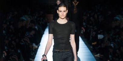 Brown, Fashion show, Shoulder, Joint, Runway, Waist, Style, Denim, Fashion model, Street fashion,