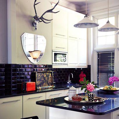 Interior design, Room, Light fixture, Ceiling, Interior design, Antler, Ceiling fixture, Kitchen, Major appliance, Countertop,