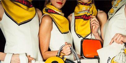 Yellow, Sleeve, Bag, Costume accessory, Costume design, Costume, Shoulder bag, Bermuda shorts,