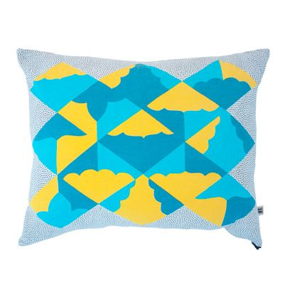 Blue, Yellow, Pattern, Textile, Aqua, Pillow, Turquoise, Teal, Cushion, Throw pillow,