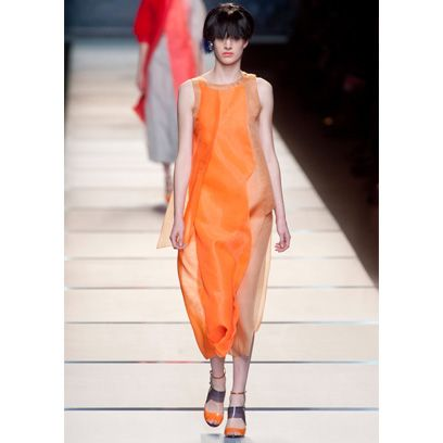 Shoulder, Joint, Style, Orange, Dress, Fashion show, Fashion, Fashion model, Street fashion, Peach,