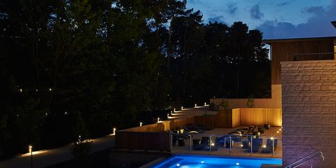 Swimming pool, Property, Lighting, Home, Leisure, House, Real estate, Night, Sky, Architecture,