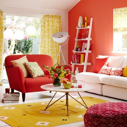 Room, Interior design, Yellow, Living room, Green, Home, Furniture, Red, Interior design, Wall,