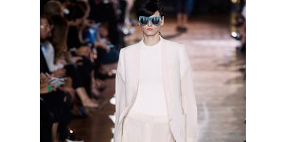 Eyewear, Vision care, Glasses, Fashion show, Outerwear, Runway, Style, Sunglasses, Fashion model, Goggles,
