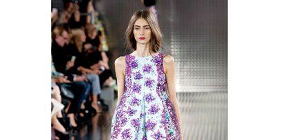 Clothing, Shoulder, Dress, One-piece garment, Style, Pink, Magenta, Fashion show, Fashion model, Street fashion,