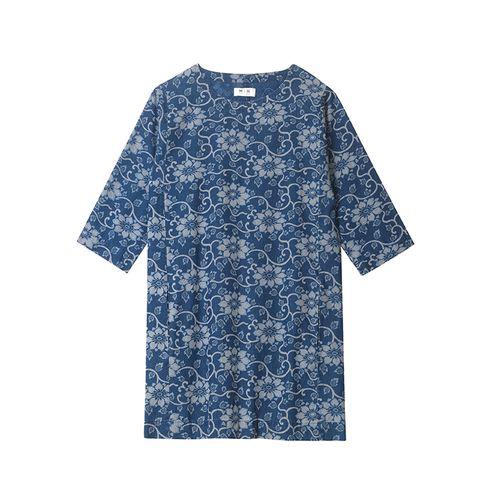 Blue, Product, Sleeve, Textile, White, Pattern, Collar, Electric blue, Aqua, Cobalt blue,