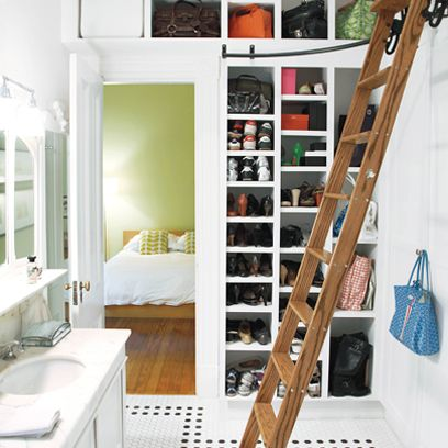 Storage shelves with ladder in bathroom | Small bathroom ideas | Interiors | Red Online