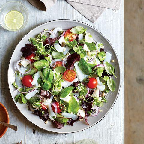 Food, Salad, Cuisine, Ingredient, Dishware, Produce, Leaf vegetable, Tableware, Vegetable, Citrus,
