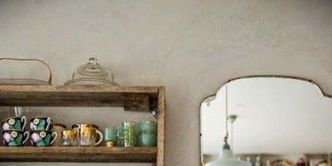 Room, Interior design, Shelving, Teal, Turquoise, Cabinetry, Interior design, Porcelain, Drawer, Aqua,