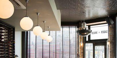 Lighting, Interior design, Ceiling, Glass, Light fixture, Ceiling fixture, Interior design, Restaurant, Cafeteria, Lighting accessory,