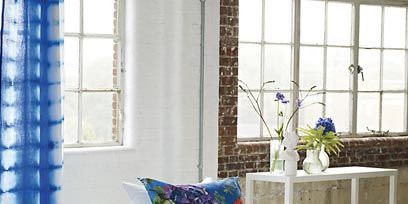 Blue, Interior design, Window, Room, Bedding, Textile, Wall, Bed sheet, Bed, Linens,