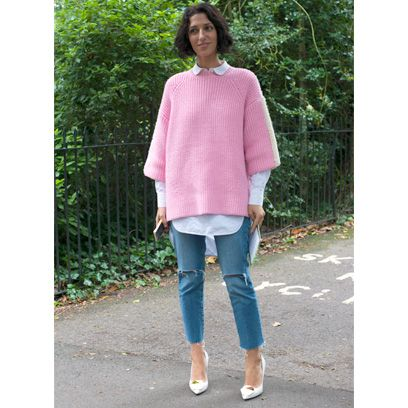 Clothing, Green, Sleeve, Textile, Joint, Outerwear, Denim, Sweater, Street fashion, Pattern,