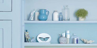 Blue, Green, Serveware, Room, Dishware, Turquoise, Teal, Aqua, Shelving, White,