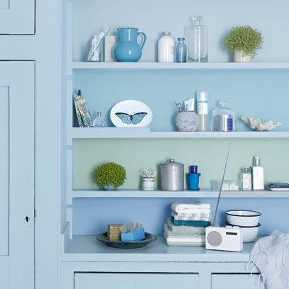 Blue, Green, Serveware, Room, Dishware, Turquoise, Teal, Aqua, Shelving, White,
