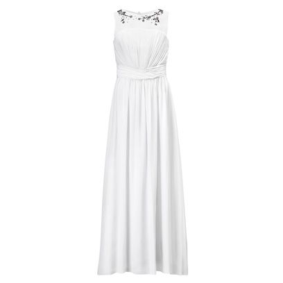 Product, Dress, Shoulder, Textile, White, One-piece garment, Standing, Formal wear, Style, Gown,
