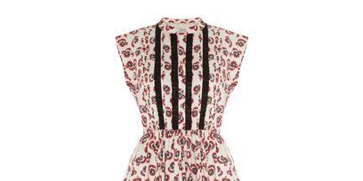 Textile, White, Pattern, Dress, One-piece garment, Collar, Magenta, Day dress, Maroon, Peach,