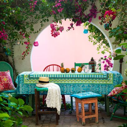Green, Flower, Furniture, Table, Pink, Petal, Magenta, Purple, Turquoise, Arch,